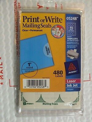 "AVERY 5248 Printable Write Mailing Seals Clear 1"" round 480 Labels Laser Ink Jet"
