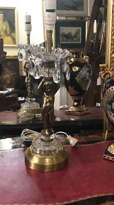 Lovely French Style Brass And Glass Bronze Cherub Lamp