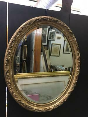 Lovely Oval French Style Carved Gilt / Gold Framed Wall Mirror 49 X 60Cm