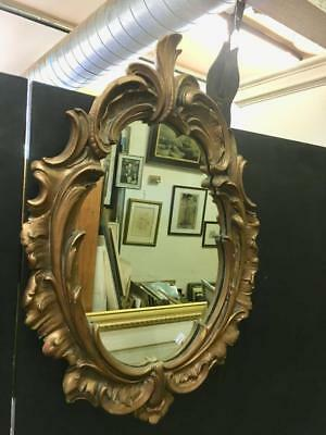 Lovely Oval French Style Carved Gilt / Gold Framed Wall Mirror 48 X 68Cm