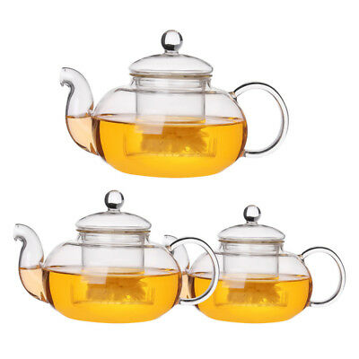 Heat Resistant Glass Teapot with Strainer Filter Infuser Tea Pot 600/ 800/1000ml