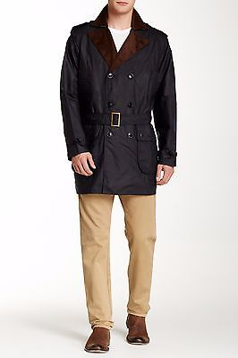 NWT Barbour Owner Jacket Water Resistant Coat Medium Navy Blue Waxed Cotton Mens