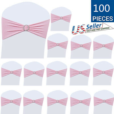 50/100 Spandex Wedding Party Chair Band Sashes With Buckle Bow Slider LOT BEST