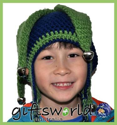Jester Bell  Hand Made Beanie Crochet Knit Hat Costume Fun Adult Kids Childrens