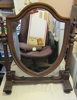 Antique Walnut Solid Wood Gentleman's Dressing Mirror