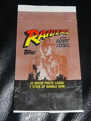 1981 Vintage INDIANA JONES RAIDERS OF THE LOST ARK trading card waxpack wrapper