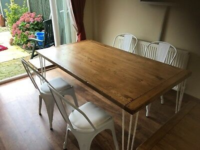 Brilliant Solid Oak Repurposed Dinning Table With Hairpin Legs And Unemploymentrelief Wooden Chair Designs For Living Room Unemploymentrelieforg