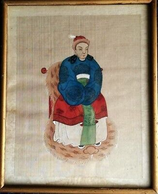 Chinese Yuan Dynasty 14th century Mongolian Queen's silk Painting image(娟本蒙元皇后像)