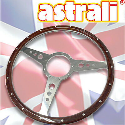 Astrali Classic Car Wooden Steering Wheel Flat 15 Inch With Holes