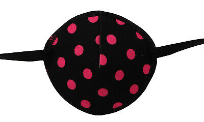 Medical Eye Patch BLACK AND PINK SPOTS, for Right or Left eye, Soft and Washable