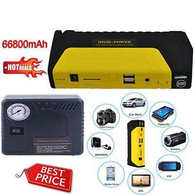 12V 68800mAh Portable Battery Jump Starter Air Compressor Car Booster Jumper GN