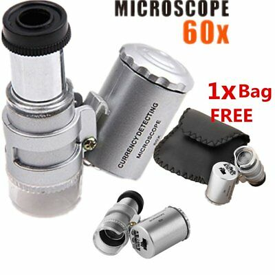 60X Pocket Microscope Mini Currency Detecting Jewellery Magnifier LED UV Ligh GN