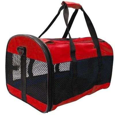 1x RED PET CARRIER COLLAPSIBLE FOLD AWAY,CAT,SMALL DOG,RABBIT CARRIERS TRAVEL