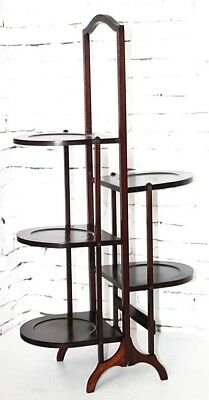Antique Mahogany 5 Tier Folding Oak Cake Stand - FREE Shipping [PL4291]