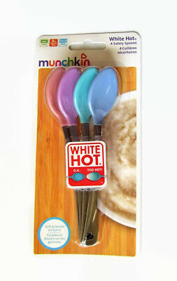 Munchkin Safety Spoons 4 Pack Heat Detecting White Hot Technology BPA Free New