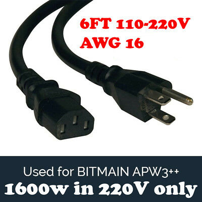 BITMAIN APW3++ PSU Power Supply Cord for Antminer MEDIUM AWG16 BTC L3+ D3 S9 6FT