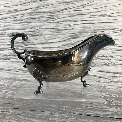 "Harrison Brothers & Howson HB&H Elegant 8"" Silver Plated Sauce Gravy Boat Server"