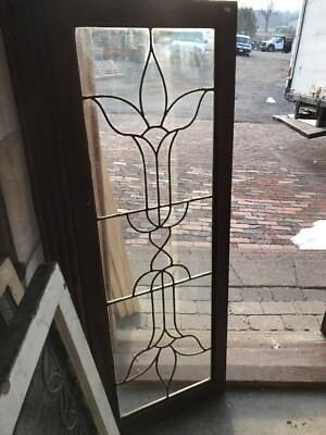 SG 557 antique leaded glass transom window 18 x 4 9.75