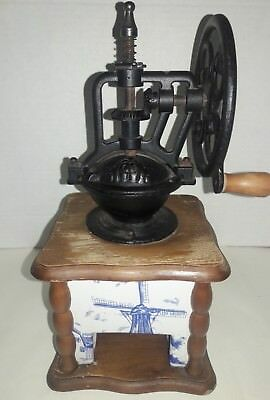 Wood, Cast Iron & Porcelain Delft Blue Windmill Scene Coffee Grinder Hand Crank