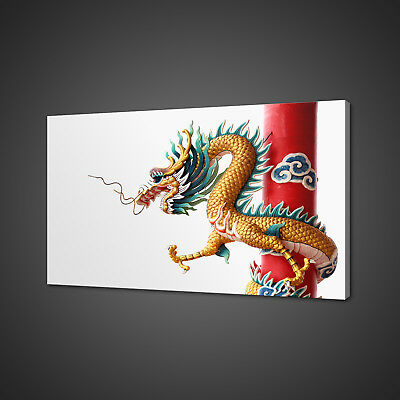 Golden Chinese Dragon Oriental Canvas Picture Print Wall Art Home Decor