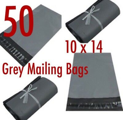 "50 BAGS 10"" x 14"" STRONG POLY MAILING POSTAGE POSTAL QUALITY SELF SEAL GREY NEW"