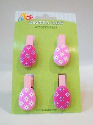 2 sets Easter Egg Craft Wooden Wood Pegs With Flowers Crafting Drawing Art Card