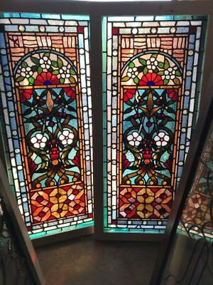 SG 2171 match Pair antique stained glass windows jeweled 24.5 x 52.5