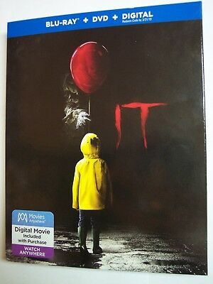 It w/Slipcover (Blu-ray, DVD, Digital HD, 2018) NEW, Pennywise