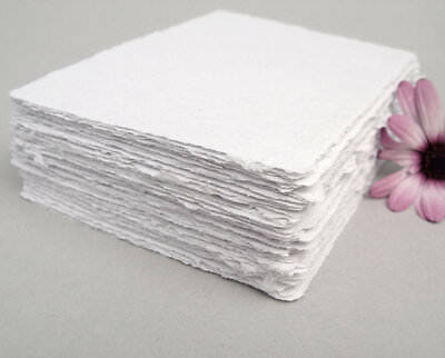 50 Sheets Of Cotton Handmade Paper White Color Scrapbook, 22*30 Inches 250 GSM