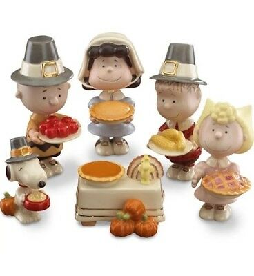 Peanuts Snoopy & Charlie Brown Thanksgiving 6 Pc Set -LENOX - New In Box