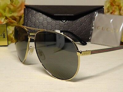 b80e30f73d Gucci GG0237S Polarized Aviator Gold Black Frame Grey Lens Sunglasses 61 13  140