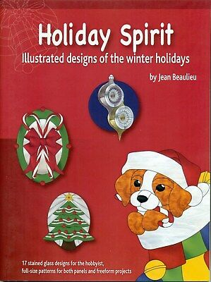 Holiday Spirit Stained Glass Pattern Book, Christmas Balls, Bells, Canes, Santa