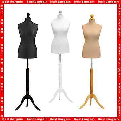 Female Tailors Dummy Cream Size 16//18 Dressmakers Fashion Students Mannequin Display Bust With A Light Wood Base