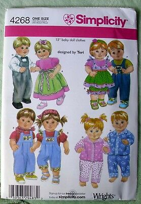 "Simplicity Baby Doll Clothes Pattern 4268 - 15"" - Boy & Girl Dolls - 2006"