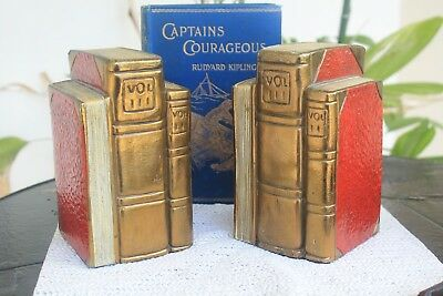 Marion Bronze bookends, bronze clad book volumes 8+ pounds, similar lamp avail
