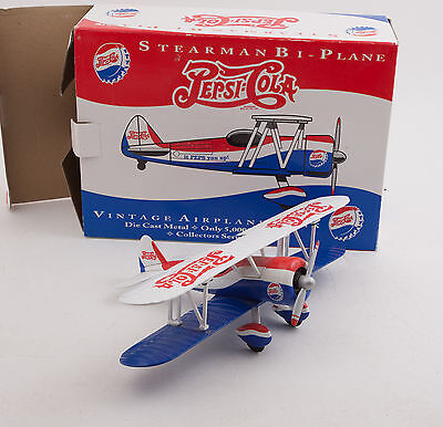 Pepsi Cola Stearman Bi-Plane Metal Airplane Bank (F1L)