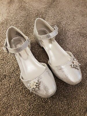 Girls Silver Monsoon Party Wedding Shoes Size 12