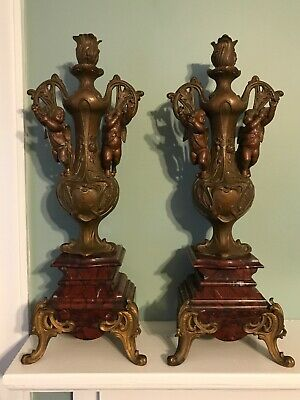 "Antique Heavy Pair Bronze and Marble Cherub Candlesticks 19"" ART DECO Stunning"