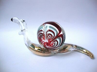 SNAIL Color Hand Blown Glass Figurine Art With Gold Trim