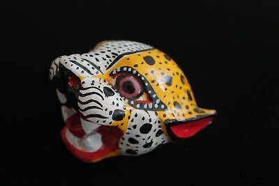 Original Mayan Jaguar Small Wooden Mask Mexico Hand Carved Art