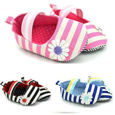 Kids Baby Girls Soft Flower Princess Shoes Stripe Infant Toddler Sandals 0-18M