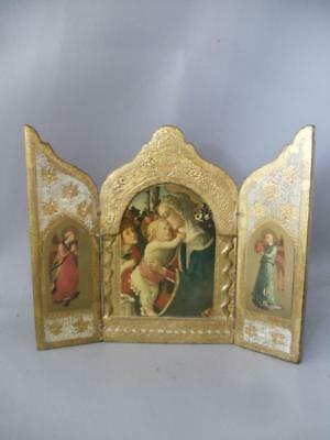 Vtg Italian Florentine Madonna & Angels Triptych Hand Painted Gold Wood Plaque