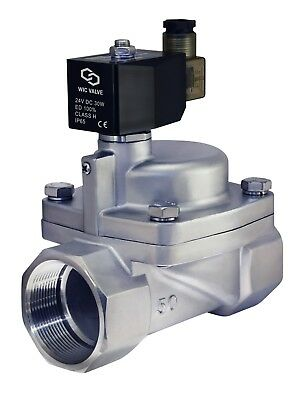 """Stainless Steel High Pressure Electric Steam Solenoid Valve NC 2"""" Inch 24V DC"""