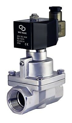 """1"""" Inch Stainless NC High Pressure Electric Steam Solenoid Process Valve 24V DC"""
