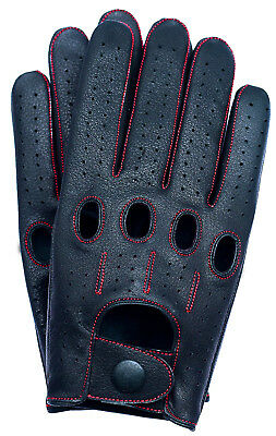 Riparo Genuine Leather Full-Finger Driving Gloves - Black/Red Thread