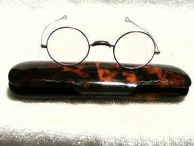 Faux Tortoise Large English Case With Silver Color 1900 Round Reading Glasses!