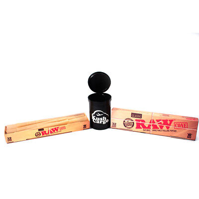 Raw Cones Blister Pack King Size (32 Cones) + KC Pop Top Stash Jar