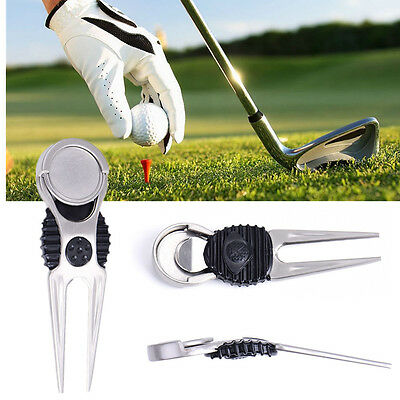 Golf pitch fork mark repairer divot tool with marker Auto Extended Lightweight
