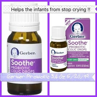 🤒Gerber Soothe Probiotic Colic Drops 0.34 fl oz (10 ml) Exp 05/27/2019🤒