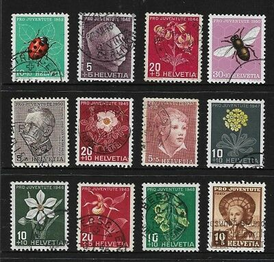 switzerland stamps Pro Juventute stamps - insects, flowers, generals, girl rural